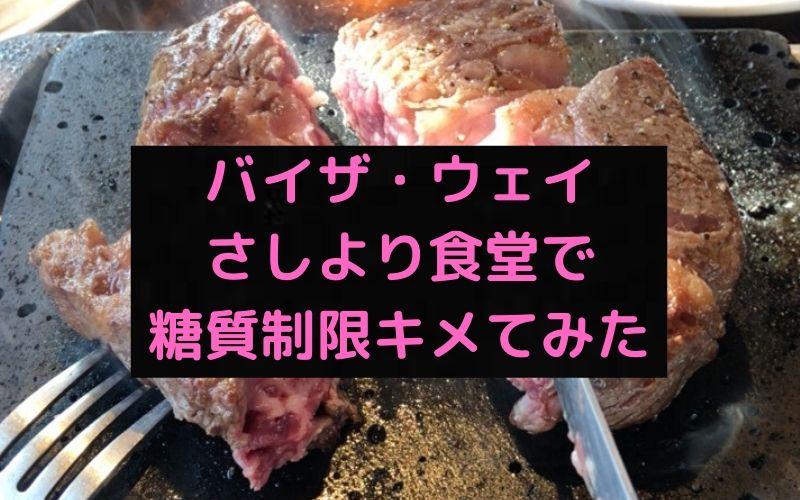 【食レポブログ】ステーキハウスバイザウェイさしより食堂で糖質オフメニューでキメてみた。